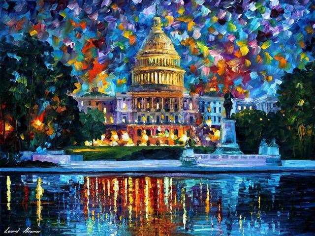 Capitol at Night by Leonid Afremov - 'Capitol at Night ' is a wonderful painting (oil on canvas with palette knife) by the Russian-Israeli artist Leonid Afremov (1955-2019), painted after his visit in Washington. <br />