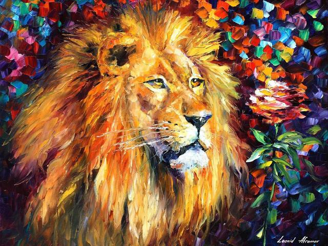 Lion by Leonid Afremov - 'Lion' is a beautiful painting with a tribute to power of the king of the beasts (oil on canvas with palette knife) by the Russian-Israeli artist Leonid Afremov (1955-2019). The painter depicts the most majestic of all animals as a symbol of the quiet confidence and self-respect. - , lion, lions, Leonid, Afremov, art, arts, animals, animal, beautiful, painting, paintings, tribute, power, king, kings, beasts, beast, oil, canvas, palette, knife, Russian, Israeli, artist, artists, painter, painters, majestic, symbol, symbols, confidence, respect - 'Lion' is a beautiful painting with a tribute to power of the king of the beasts (oil on canvas with palette knife) by the Russian-Israeli artist Leonid Afremov (1955-2019). The painter depicts the most majestic of all animals as a symbol of the quiet confidence and self-respect. Solve free online Lion by Leonid Afremov puzzle games or send Lion by Leonid Afremov puzzle game greeting ecards  from puzzles-games.eu.. Lion by Leonid Afremov puzzle, puzzles, puzzles games, puzzles-games.eu, puzzle games, online puzzle games, free puzzle games, free online puzzle games, Lion by Leonid Afremov free puzzle game, Lion by Leonid Afremov online puzzle game, jigsaw puzzles, Lion by Leonid Afremov jigsaw puzzle, jigsaw puzzle games, jigsaw puzzles games, Lion by Leonid Afremov puzzle game ecard, puzzles games ecards, Lion by Leonid Afremov puzzle game greeting ecard