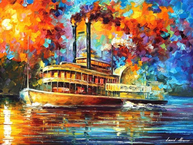 Steamboat by Leonid Afremov - 'Steamboat' is an oil painting on canvas with palette knife, by Leonid Afremov, depicting an old steam ship of the 19th century, floating down the Mississippi river, a major part of the New Orleans landscape.<br /> The artist has managed skillfully to portray a spectacular sight with bright sunshine rays on the smooth waters of the Mississippi, a scenery that can be only created at the sunset sun.<br /> All that is depicted in the painting looks very romantic and amazes with color and mood of that era, even with the two streams of smoke rising from the pipes depicted with surprising accuracy. - , steamboat, steamboats, Leonid, Afremov, art, arts, oil, painting, paintings, canvas, palette, knife, steam, ship, century, Mississippi, river, rivers, major, part, New, Orleans, landscape, landscapes, artist, artists, spectacular, sight, bright, sunshine, rays, ray, smooth, waters, scenery, sunset, sun, romantic, scenery, color, mood, era, streams, smoke, pipes, pipe, accuracy - 'Steamboat' is an oil painting on canvas with palette knife, by Leonid Afremov, depicting an old steam ship of the 19th century, floating down the Mississippi river, a major part of the New Orleans landscape.<br /> The artist has managed skillfully to portray a spectacular sight with bright sunshine rays on the smooth waters of the Mississippi, a scenery that can be only created at the sunset sun.<br /> All that is depicted in the painting looks very romantic and amazes with color and mood of that era, even with the two streams of smoke rising from the pipes depicted with surprising accuracy. Solve free online Steamboat by Leonid Afremov puzzle games or send Steamboat by Leonid Afremov puzzle game greeting ecards  from puzzles-games.eu.. Steamboat by Leonid Afremov puzzle, puzzles, puzzles games, puzzles-games.eu, puzzle games, online puzzle games, free puzzle games, free online puzzle games, Steamboat by Leonid Afremov free puzzle game, Steamboat by Leonid Afremov online puzzle game, jigsaw puzzles, Steamboat by Leonid Afremov jigsaw puzzle, jigsaw puzzle games, jigsaw puzzles games, Steamboat by Leonid Afremov puzzle game ecard, puzzles games ecards, Steamboat by Leonid Afremov puzzle game greeting ecard