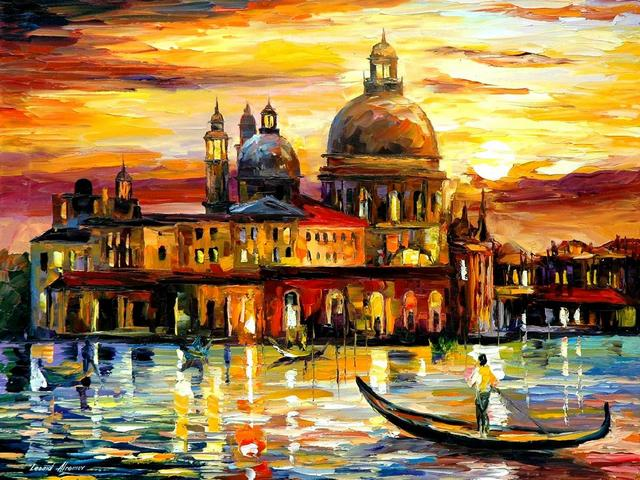 The Golden Skies of Venice by Leonid Afremov - 'The Golden Skies of Venice ' is a magnificent contemporary painting (oil on canvas with palette knife) by the Russian-Israeli artist Leonid Afremov (1955-2019), painted after his visiting Venice, the Italian paradise.<br /> The bright color palette makes the scenery looks so real, festive and solemn, that you can imagine being there and sailing on a gondola down this picturesque canal. - , golden, skies, sky, Venice, art, arts, magnificent, contemporary, painting, paintings, oil, canvas, palette, knife, Russian, Israeli, artist, artists, Italian, paradise, color, palette, palettes, scenery, real, festive, solemn, gondola, gondolas, picturesque, canal, canals - 'The Golden Skies of Venice ' is a magnificent contemporary painting (oil on canvas with palette knife) by the Russian-Israeli artist Leonid Afremov (1955-2019), painted after his visiting Venice, the Italian paradise.<br /> The bright color palette makes the scenery looks so real, festive and solemn, that you can imagine being there and sailing on a gondola down this picturesque canal. Solve free online The Golden Skies of Venice by Leonid Afremov puzzle games or send The Golden Skies of Venice by Leonid Afremov puzzle game greeting ecards  from puzzles-games.eu.. The Golden Skies of Venice by Leonid Afremov puzzle, puzzles, puzzles games, puzzles-games.eu, puzzle games, online puzzle games, free puzzle games, free online puzzle games, The Golden Skies of Venice by Leonid Afremov free puzzle game, The Golden Skies of Venice by Leonid Afremov online puzzle game, jigsaw puzzles, The Golden Skies of Venice by Leonid Afremov jigsaw puzzle, jigsaw puzzle games, jigsaw puzzles games, The Golden Skies of Venice by Leonid Afremov puzzle game ecard, puzzles games ecards, The Golden Skies of Venice by Leonid Afremov puzzle game greeting ecard