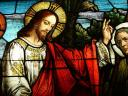 Jesus Christ Stained Glass Window Roman Catholic Cathedral Los Angeles California