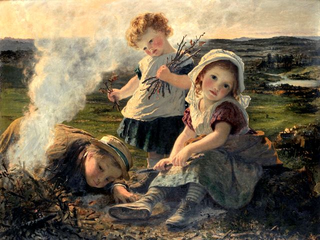 The Bonfire by Sophie Anderson - 'The Bonfire', beautiful painting (oil on canvas, private collection), by  Sophie Gengembre Anderson (1823-1903), a French-born British artist, landscape painter and illustrator. Sophie Anderson is known with her wonderful portraits of Victorian children and the lifelike pictures in Pre-Raphaelite style of painting, with near-photographic precision, abundant detail, intense colours, and complex compositions. - , bonfire, bonfires, Sophie, Anderson, art, arts, beautiful, painting, paintings, oil, canvas, private, collection, collections, Gengembre, 1823, 1903, French, British, artist, artists, landscape, painter, painters, illustrator, illustrators, wonderful, portraits, portrait, Victorian, children, child, lifelike, pictures, picture, Pre-Raphaelite, style, styles, photographic, precision, abundant, detail, details, intense, colours, colour, complex, compositions, compositions - 'The Bonfire', beautiful painting (oil on canvas, private collection), by  Sophie Gengembre Anderson (1823-1903), a French-born British artist, landscape painter and illustrator. Sophie Anderson is known with her wonderful portraits of Victorian children and the lifelike pictures in Pre-Raphaelite style of painting, with near-photographic precision, abundant detail, intense colours, and complex compositions. Solve free online The Bonfire by Sophie Anderson puzzle games or send The Bonfire by Sophie Anderson puzzle game greeting ecards  from puzzles-games.eu.. The Bonfire by Sophie Anderson puzzle, puzzles, puzzles games, puzzles-games.eu, puzzle games, online puzzle games, free puzzle games, free online puzzle games, The Bonfire by Sophie Anderson free puzzle game, The Bonfire by Sophie Anderson online puzzle game, jigsaw puzzles, The Bonfire by Sophie Anderson jigsaw puzzle, jigsaw puzzle games, jigsaw puzzles games, The Bonfire by Sophie Anderson puzzle game ecard, puzzles games ecards, The Bonfire by Sophie Anderson puzzle game greeting ecard