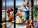Disney Autumn Goffy Mickey and Minnie Mouse in Paris Wallpaper
