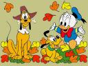 Disney Autumn Pluto and Babies Wallpaper