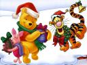 Disney Winnie the Pooh Piglet and Tigger with Christmas Presents Wallpaper