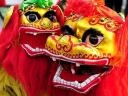 Lion Masks at Temple of Earth Ditan Park in Beijing China