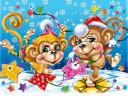 New Year Monkeys Illustration by Victoria Orfanova